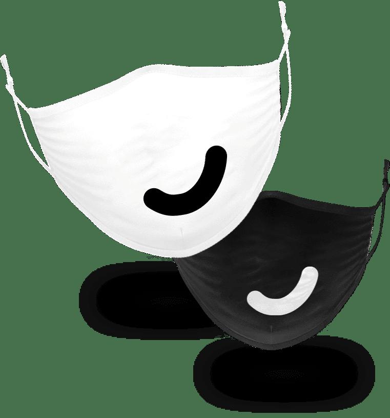 Mondkapjes zwart/wit